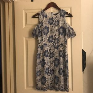 Blue and White Lace Cold Shoulder Mini Dress